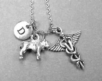Bulldog necklace, Veterinary necklace, bulldog charm, dog necklace, animal necklace, animal jewelry, initial necklace, personalized necklace