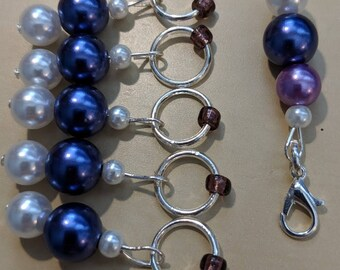 Purl Stitch Markers - Purple/white(Fit up to size 6 mm/US 10)