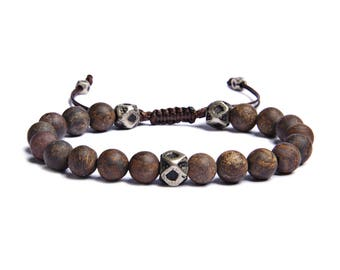Men's Bronzite Bracelet - Men's Jewelry - Bracelet for Men - Father's Day Gifts - Sliding knot adjustable bracelet - Gift for boyfriend