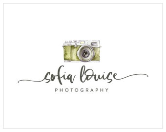 Premade Photography and Watermark Logo Design, Watercolor Camera logo, Blog Header Design 160
