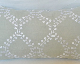 Robert Allen Winding Leaves In Flax-Decorative Pillow Cover / Embroidered Linen Fabric / All Size Available