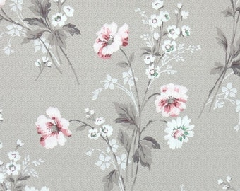 1940s vintage wallpaper white and blue flowers pink butterflies on 1940s vintage wallpaper floral wallpaper with pink and white flowers on light brown mightylinksfo