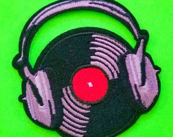 Vinyl Sounds Better DJ Spin That Record Collection Play It Loud Album and Headphones Fully Embroidered Iron or Sew On Patch