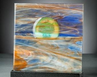 Art Glass Sculpture Abstract Sunset At The Beach Artist Signed