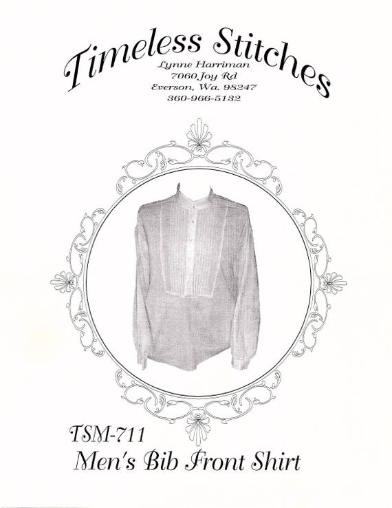 Victorian Sewing Patterns- Dress, Blouse, Hat, Coat, Mens Victorian Bib Front Shirt/ 19th Century  Civilian  Mens Shirt Pattern  Timeless Stitches Sewing Pattern TSM-711 $10.00 AT vintagedancer.com