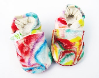 SALE XS Organic So Soft OBV Marble Dyed Rainbow Light / All Fabric Baby Shoes / Made to Order /Babies