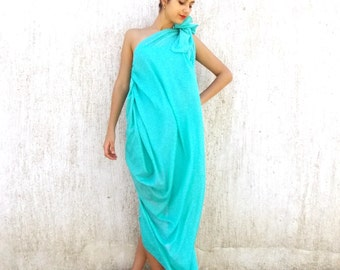 Emerald Maxi Dress TDK60, Asymmetrical Caftan, Emerald Summer Dress, Plus Size Dress, Custom Made Dress, Emerald Caftan
