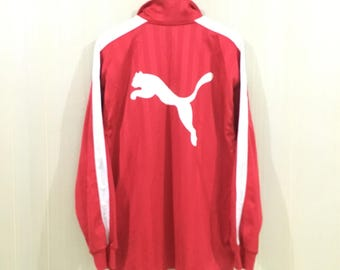 Rare!! Vintage 90's PUMA Trainer Jacket Big Logo Embroidery Sweater Polyster Red Colour XLarge Size