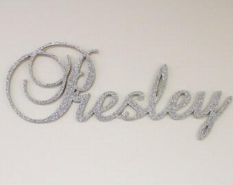 Hanging nursery letters, nursery letters, baby girl nursery letters, pink, gray, white, nursery decor, nursery wall letters GLITTERED sign