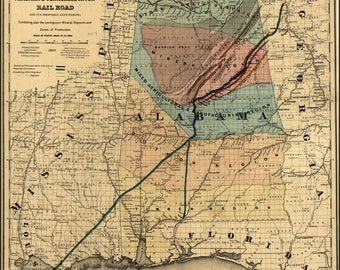 Poster, Many Sizes Available; Map Of Alabama & Tennessee River Railroad 1865