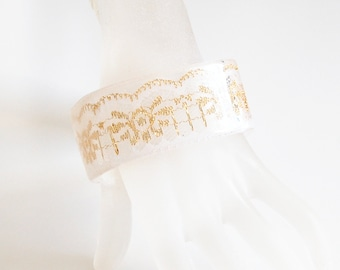 Thin Square Resin Bangle Bracelet With White And Gold  Lace- Resin jewelry- Resin Bracelet- Resin Bangle Bracelet- Mother's Day Gift-For Her