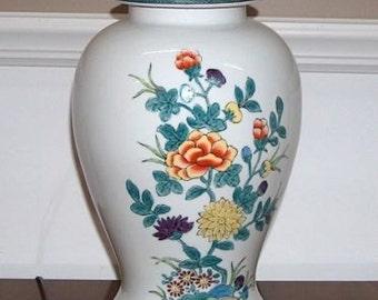 6418: Lovely Signed WILDWOOD Lamps Ginger Jar Table Lamp Floral Design  Multi Colors At Vintageway
