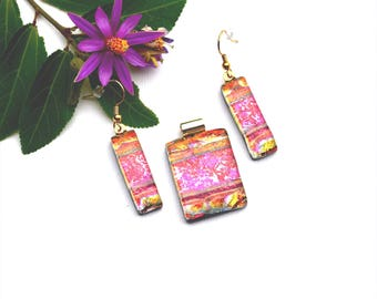Fused dichroic glass pendant and earring set, three layers, red, yellow, gold