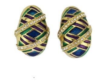 Butler Enamel and Rhinestone Earrings, Butler Rhinestone and Enamel Earrings, Enamel and Gold Earrings