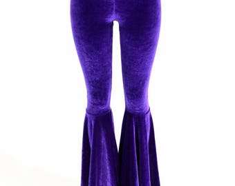 Purple Velvet Bell Bottom Flares Leggings with High Waist & Stretchy Spandex Fit - 154798