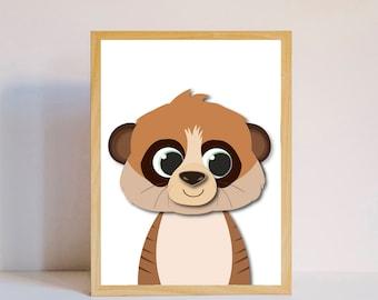 Little meerkat nursery print