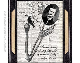 Edgar Allan Poe INSANE art print wall decor literary quote upcycled vintage dictionary book page horror literature nevermore skeleton 8x10