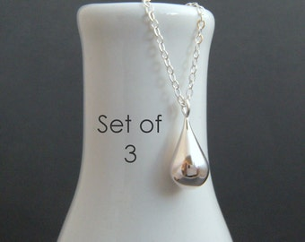 bridesmaid necklaces. SET OF 3 sterling silver teardrop. round puffed drop charm. simple pendant. dainty delicate jewelry. modern bridal set