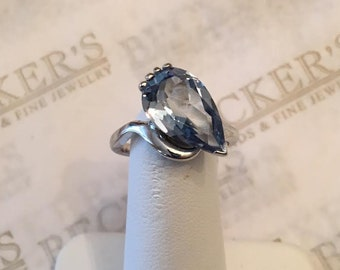 Vintage 14k white gold 15x9mm Pear Shaped Created Blue Spinel Ring in a twist bypass setting, size 5.75