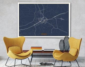 "ROCK SPRINGS Canvas Map Large 60""x40"" Stretched Canvas Map Rock Springs Wyoming City Map Print Rock Springs Wyoming poster map Jack Travel"