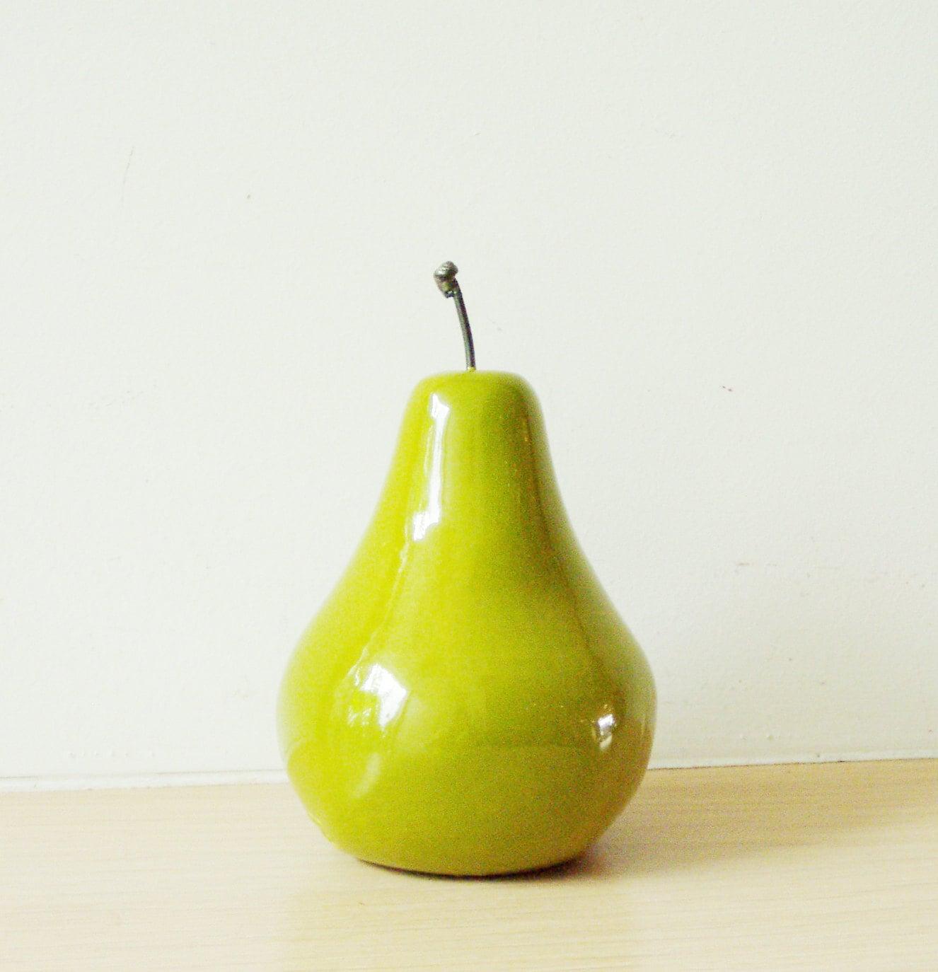 Ceramic Pear sculpture life size green ceramic pear minimal