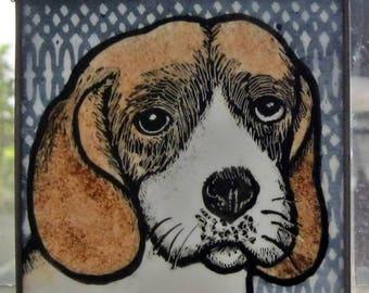 Stained Glass Dog Suncatcher Beagle  JRN006
