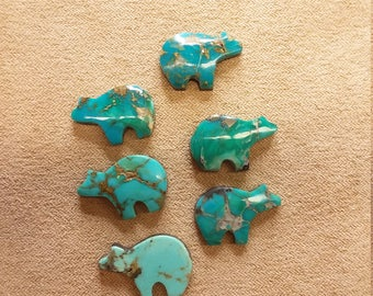 60% OFF Small Assorted Turquoise Bear Cabochons (6)/ backed/ seconds