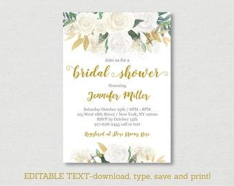 Gold Floral Bridal Shower Invitation / Floral Bridal Shower Invite / White & Gold Floral / Editable PDF INSTANT DOWNLOAD B126