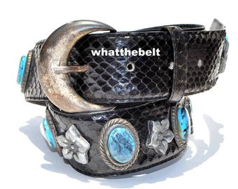 Vintage Belt *Snake Skin Black Leather Blue Turquoise Conchos Small