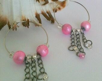 Pink Beaded Chandelier Hoop Earrings Handmade