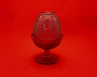 Indiana Tiara, Red Sandwich Glass, Fairy Lamp
