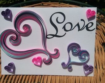 Love hearts and swirls inspirational card.