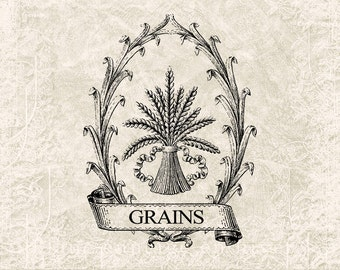 Digital Download Antique Grain Burlap Ad - Vintage Grain Typography Transfer Image - Transfer Graphic - Vintage Label INSTANT DOWNLOAD