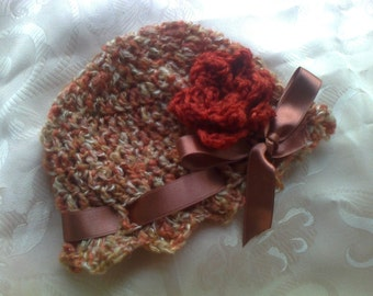 crochet baby hat, baby clothes, baby beanie flowered hat baby fall hat girl hats, baby girl hat, newborn hat, crochet girl hat, toddler hat