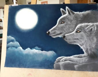 table wolves in the Moonlight on a blue background
