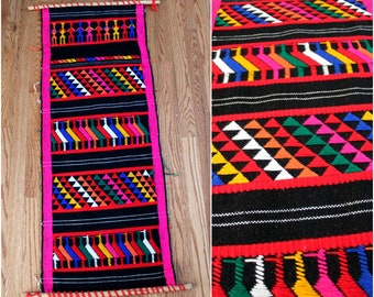 Vintage Bohemian South American Aztec Textile Wall Hanging. Knit Woven Boho Neon, Rug, Or Wall Hanging. Hippie Boho Home Decor Gift
