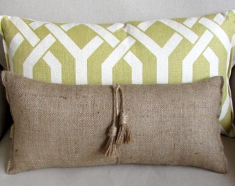 lumbar style toss pillow in Natural BURLAP with tassels