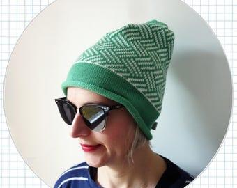 geometric knit hat, 100% merino wool beanie, winter hat, aqua green, white