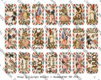 Vintage Patriotic  Americana 4th Of July Tickets printable Stars Stripes Flag America download Digital Collage 3 sheets sheet