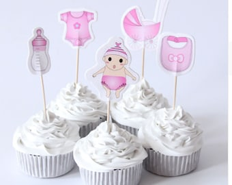 20 PC Baby Shower Pink or Blue Cupcake Toppers Dessert Party Supplies Theme Decorations BS040118