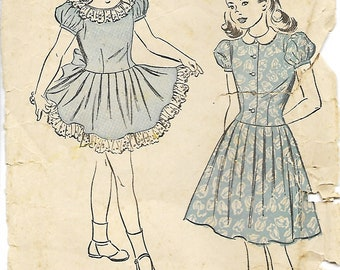 1940's Advance 4880 Girls Dress Pattern, Size 6, Breast 24