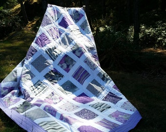 Modern Quilt, Twin Quilt, Twin Quilts, Twin Bedding, Purple Quilt, Purple Haze, Contemporary Quilt, Home & Living, Bedroom Decor