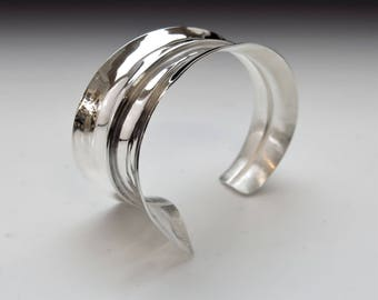 Fold Formed Cuff, Fold Form Cuff, Silver Fold Form Cuff, Silver Statement Cuff, Silver Cuff, Asymmetrical Cuff Bracelet, Handmade Cuff
