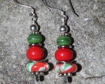 Handmade lampwork bead Christmas Earrings