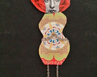 Mixed Media Doll, Recycled Metal, Art Doll