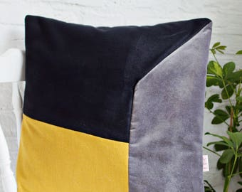 Mixed fabrics Colorblock Pillow Cover in Golden Mustard, black and grey velvet, Modern Home Decor, Three Tone Color Block Cushion Cover