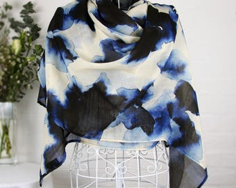 Blurred Shadows - 100% wool large scarf wrap shawl contemporary abstract spots watercolour inky blue limited edition gift