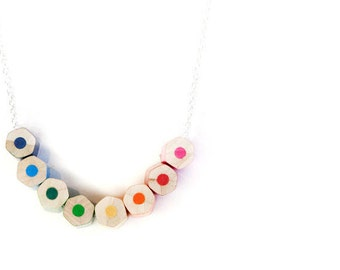 MakeForGood - lupidupi colored pencil necklace - on a sterling silver chain - teacher gift - christmas gifts - rainbow colors