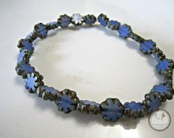 Cornflower Blue Czech Glass Cactus Flower Beads Blue Picasso Czech Flower Beads Cornflower Blue Cactus Flowers 9mm (10pcs) 70V3