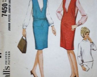 McCalls 7450 Vintage Sewing Pattern 1960s Jumper, Pullover Top, Bust 32-32.5  JUNIOR PETITE